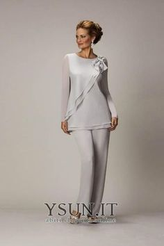 2014 Sliver New Arrival Jewel Vestidos Formales Chiffon Three Pieces Long Mother Of the Bride Suit Pants Evening Dress Mother Of The Bride Suits, Mother Of Groom Dresses, Mothers Dresses, Mother Of The Bride Dresses Plus Size, Mother Bride, Mob Dresses, Fashion Dresses, Formal Dresses, Tunic Dresses