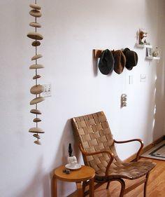 Mudpuppy Moon wind chimes organic hanging disc bells sculpture - natural buff stoneware. $125.00, via Etsy.