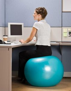 I have read several suggestions lately to do away with your normal office chair and use a balance ball for strength training even at the desk.
