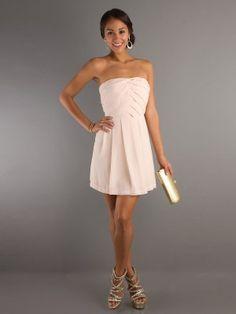 A-line Strapless Ruffles Sleeveless Short   Mini Chiffon Homecoming Dress 4c334a3d90