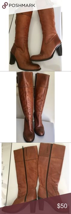 Prialpas Gomma women's leather boots, size 8M (US) Beautiful brown leather women's boots. Size 8M. Pre-owned and in good condition. Made in Italy. Height from sole to top of boot is 18.5 inches, with a 3.25 inch block heal. Prialpas Gomma Shoes Heeled Boots