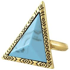House of Harlow 1960 Triangle Theorem Ring ($36) ❤ liked on Polyvore featuring jewelry, rings, accessories, turquoise, cocktail rings, house of harlow 1960 jewelry, pave ring, pave cocktail ring and pave jewelry