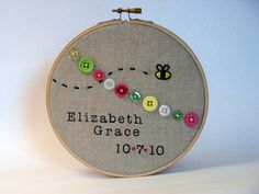 Nursery Decor. Hand Embroidery.  Bumblebee.  Hoop Art.. $35.00, via Etsy.
