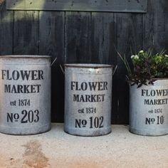 "Metal ""Flower Market"" Buckets, Set of 3 1"