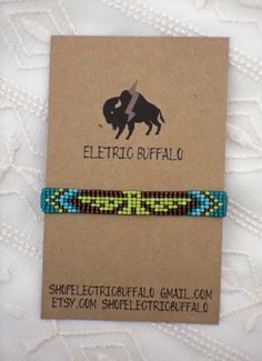 Turquoise and Brown Beaded Bracelet by ShopElectricBuffalo on Etsy