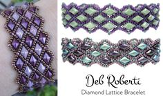 Diamond Lattice Bracelet beaded pattern tutorial by Deb Roberti