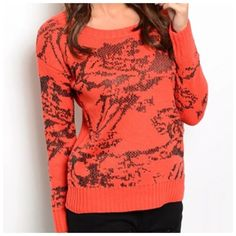 """Metallic Abstract Burnt Orange & Bronze Sweater ‼️PRICE FIRM‼️  Size Medium  Retail $69  SUPER FUN!!!  Metallic gunmetal color threading!  Lots and lots of stretch for a perfect & comfortable fit!  80% acrylic,15% metallic yarn, 5% wool.    Measurements taken with sweater lying flat and not stretched.  There is lots of stretch to this sweater for a perfect fit & ultimate comfort.    Armpit to armpit 42""""  Shoulders 22.5""""   Length of garment 25"""" Timing Sweaters Crew & Scoop Necks"""