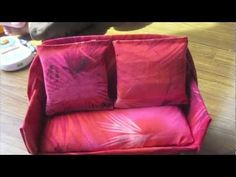 How to make a Doll couch using simple household materials: This is pretty cool     Tissue box, material, little plastic containers, stuffing (I used old rags and packaging stuffing), glue gun