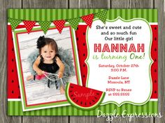 Printable Watermelon Birthday Invitation | Kids Summer Party Idea | FREE Thank You Card Included | Matching Party Package Available! Banner | Cupcake Toppers | Favor Tag | Food and Drink Labels | Signs | Candy Bar Wrapper | www.dazzleexpressions.com