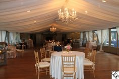 Fully Draped Ceiling at the Pavilion at Middleton Place   Crystal Chandeliers   Navy and Pink Wedding   Designed by Engaging Events