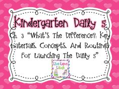 Little Miss Kindergarten - Lessons from the Little Red Schoolhouse!: Daily 5 Chapter 3!
