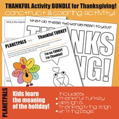 Thanksgiving Thankful Meaningful Design Color Construct Autumn Activities BUNDLE