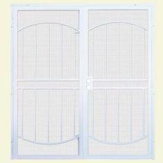 Prowler proof 39 s protec sliding door security screen is for Home depot double security doors