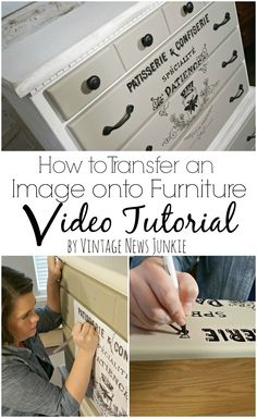 How to Transfer an Image onto Furniture with Video Tutorial! Love this look! Brought to you by NBC's American Dream Builders, Hosted by Nate Berkus.