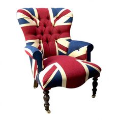 Union Jack Armchair Designer Furniture Smithers of Stamford £ 720.00 Store UK, US, EU, AE,BE,CA,DK,FR,DE,IE,IT,MT,NL,NO,ES,SE Wingback Chair, Armchair, Funky Chairs, Industrial Dining Chairs, Dark Wood Stain, Curtain Material, Interior Work, Red Curtains, Handmade Frames
