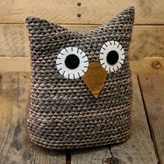 Knitted Owl Doorstop ~ Brown Owl Door Stop                              …