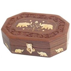 Carved Wooden Box with Brass Elephant Decoration Available in two sizes priced from £9.95