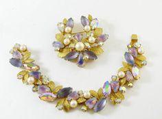 Vintage Kramer of New York Saphiret Molded Glass AB Rhinestone Leaf Demi Parure, Bracelet and Brooch - Vintage Lane Jewelry - 1