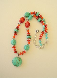 Boho Southwest Necklace Turquoise Jewelry Colorful by BohoStyleMe