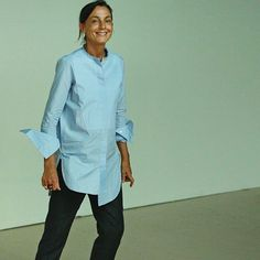 Phoebe Philo // long blue shirt & pants #style #fashion #workstyle