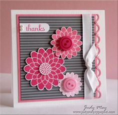 "Stamps Button Buddies (NEW), Fabulous Phrases   Card stock & Papers Bazzill White, Whisper White, Regal Rose, Basic Gray Striped DSP   Ink Rose Red, Regal Rose, Pretty in Pink   Accessories Basic Pearls, Brights and Subtles Buttons, 3/8"" White Taffeta ribbon   Tools Scallop Trim border punch, Word Window punch, 1/2"" Circle punch, Dimensionals, Glue Dots"