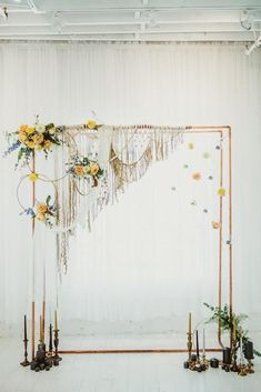 Trendy Mustard Wedding Ideas ★ mustard wedding bohemian minimalistic arch with macrame flowers greenery and dark candkes brandi potter photography Wedding Ceremony Ideas, Mustard Wedding, Moon Wedding, Wedding Bride, Wedding Dresses, Photos Booth, Photo Souvenir, Yosemite Wedding, Copper Wedding