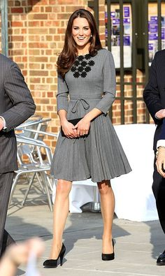 """Kate Middleton """"Dutchess of Cambridge"""" - She wears this (Orla Kiely) dress so well!  Love, love the embroidered neckline!"""