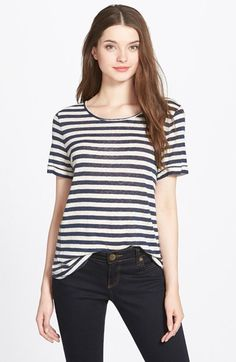 Lucky Brand Button Back Stripe Tee available at #Nordstrom