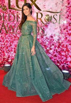 Katrina Kaif's lacy Zaid Nakad gown is equal parts sexy and sweet. Indian Wedding Gowns, Indian Gowns Dresses, Indian Bridal Outfits, Indian Bridal Fashion, Latest Gown Design, Gown Party Wear, Party Gowns, Bride Reception Dresses, Bollywood Dress