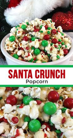 Santa Crunch Popcorn - a fun Christmas Party food that everyone is going to love. Sweet salty crunchy and delicious and it is so easy to make. It would be great for a Kid's Christmas Party a work Christmas Party or your family Christmas Party. Best Christmas Desserts, Xmas Food, Christmas Appetizers, Christmas Cooking, Christmas Fun, Holiday Recipes, Dinner Recipes, Christmas Party Snacks, Christmas Popcorn