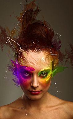 i like the look of paint and constellations on the photo around her face