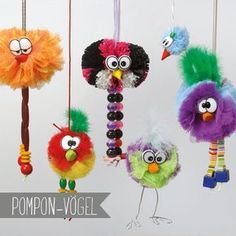 Pro-Game Homemade: Pompon tinkering with children, DIY, crafts in the basement . - Basteln f. Diy Crafts For Kids, Home Crafts, Fun Crafts, Arts And Crafts, Children Crafts, Kids Diy, Preschool Crafts, Bird Crafts, Easter Crafts