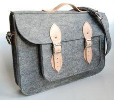 Felt Laptop 15 inch bag with pocket, satchel, Macbook Pro 15 in, Custom size Laptop bag, sleeve, case, with leather straps and belt shoulder