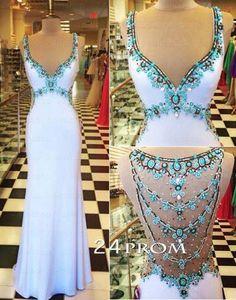 White V neckline Chiffon Rhinestone Long Prom Dresses, Formal Dress – 24prom #prom #promdress #dress
