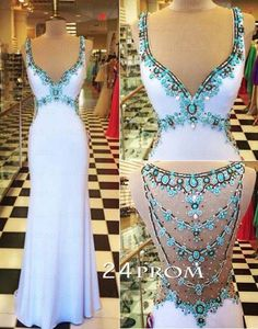 White V neckline Chiffon Rhinestone Long Prom Dresses, Formal Dress – 24prom #prom #promdress #dress