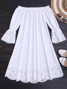 Laser Cut Midi Off The Shoulder Dress - White M - Like Tutorial and Ideas Simple Dresses, Cute Dresses, Casual Dresses, Short Dresses, Casual Outfits, Cute Outfits, Summer Dresses, Casual Clothes, African Fashion Dresses