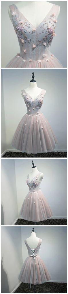 CHIC A-LINE V-NECK MODEST HOMECOMING DRESS MODEST PINK CHEAP SHORT PROM DRESS AM110