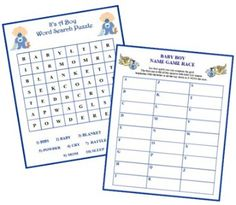 Free Printable Baby Boy Baby Shower Games. Find five free babyshower games for you to print out and use for your boy themed baby shower party day.