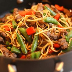 Quick Beef Lo Mein- Need a quick and healthy weeknight meal? This beef lo mein comes together super fast and is a great way to use up leftovers. Try leftover pasta, steak, roast beef or chicke…