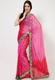 Be ready to receive endless compliments each time you wear this gorgeous saree from the house of Ethnic Closet. Featuring a beautifully embroidered border, this red coloured saree is a perfect pick for special occasions. Made from chiffon, this saree is light in weight and easy to drape. Pair it with a stylish blouse, matching jewellery and sandals to complete your ethnic look.