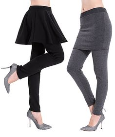 Black & Gray Faux Fur-Lined Skirt Leggings Set by Ace Fashions #zulily #zulilyfinds