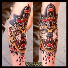 Tiger Dagger  tattoo oldschool traditional by: Vision Renato