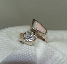 Silver Ring with Lab Made Opal & CZ