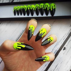 NEON YELLOW MATTE dripping press on nails fluo green and