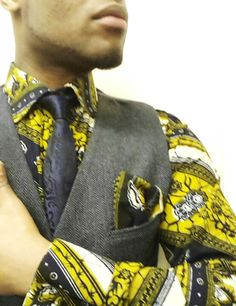 West African Wax shirt and pocket square mixed matched with a grey herringbone waistcoat! AFROPEAN fabolous or what? :)