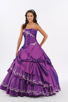Layered Quinceañera Dress Sweet Sixteen Dress in Plum MBD8336