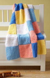 Beginner Crochet Baby Afghan - Perfect for beginners, this modern patchwork baby blanket offers so much texture