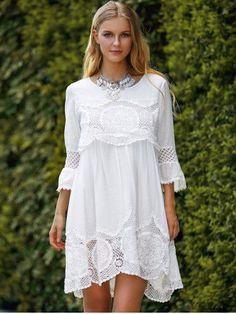 Casual Dresses For Women - Cute White Casual Summer Dresses & Casual Maxi Dresses Fashion Sale Online Plus Size Dresses, Plus Size Outfits, Pretty Dresses, Beautiful Dresses, Beautiful Dream, White Lace, White Dress, Estilo Hippie Chic, Vetements Clothing