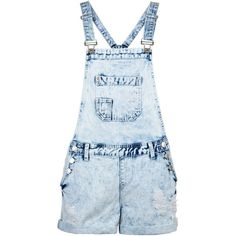 Acid Wash Blue Lightweight Short Dungarees ($18) ❤ liked on Polyvore featuring jumpsuits, rompers, shorts, playsuits, dresses, short rompers, blue romper, short romper, cropped romper and acid wash romper