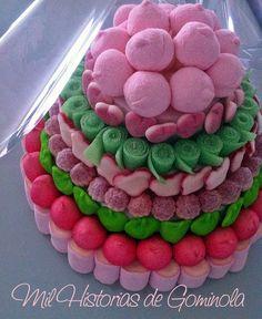 #Tarta de #cumpleaños de Esther #niña #rosa #verde #chuches #gominolas…